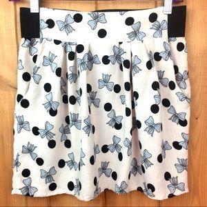 Vintage 80's Bow Print Skirt W Pockets S